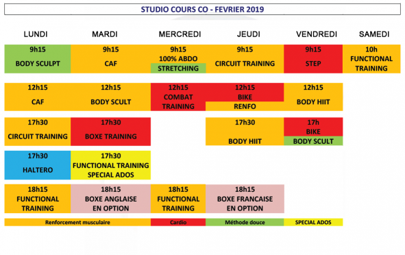 Planning cours collectifs GYmGo Belley